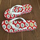 NEW TORY BURCH Women WEDGE flip flop Sandals White Primrose Wedge-red sole LOGO
