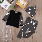 Newborn Baby Girl Boy Clothes Deer Top Long Sleeve+Pants Beanie 3pcs Outfit