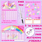 A4 Reusable Behaviour Girls Unicorn Reward Chart free Stickers & pen, MAGNETIC