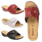 WOMENS SHOES LADIES SLIP ON SANDALS MULES WEDGE HEEL OPEN TOE SIZES 3 4 5 6 7 8