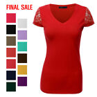 [FINAL SALE]Doublju Womens Short Lace Sleeves V-Neck Cotton T-Shirt
