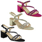 Womens Diamante Sandals Heels Ladies Wedding Bridesmaid Bridal Party Shoes Size