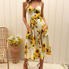 Plus Size Womens Holiday Strappy Button Pocket Ladies Summer Beach Swing Dress <br/> ❤ Latest 30 Styles ❤ Plus Size ❤ Size UK 6-20 ❤