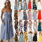 Plus Size Womens Holiday Strappy Button Pocket Ladies Summer Beach Swing Dress