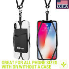 Universal Cell Phone Strap Silicone Credit ID Card Holder Wallet Lanyard Case US