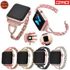 Women Stainless Steel Band with Rhinestone for Apple Watch Series 3 2 1 38/42MM image