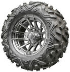 """12"""" RHOX RX102 Chrome Golf Cart Wheels and Tires Combo Set on"""