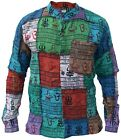 Ohm Patchwork Grandad Button Down Full Sleeve Summer Printed Ethnic Cotton Shirt <br/> Om Hippy Multicolor Comfortable Light Collarless Pocket