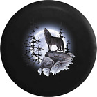 Spare Tire Cover Howling Wolf Full Moon Tree Camperfor SUV or RV