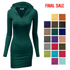 [FINAL SALE]Doublju Womens Long Sleeve Henley Neck Basic Hoodie Dress