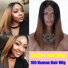 "16"" Ombre Brown Human Hair Lace Front Wig 1x3"" Silk Top Short Bob wigs for Women"