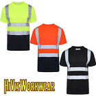 HI VIZ VISIBILITY SHORT SLEEVE T SHIRT CREW NECK SAFETY WORK TWO TONE HIGH VIS
