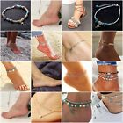 Boho Ankle Bracelet Silver Tone Womens Fashion Beaded Adjustable Beach Anklet image