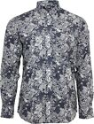 Relco Mens Navy Blue Floral Paisley Long Sleeved Button Down Vintage Shirt Mod