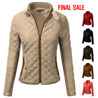 [FINAL SALE]Doublju Womens Long Sleeve Quilted Inner Ribbed Collar Zip-Up Jacket