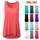 [FINAL SALE]Doublju Womens Sleeveless Basic High-Low Summer Tank Top