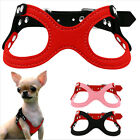 Soft Suede Leather Small Dog Harness Pet Puppy Chihuahua Ajustable Chest Vest UK