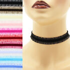 Custom Stretch Velvet + Sheer Frill Choker 3/4 inch (19mm) double ruffle elastic
