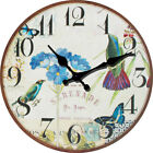 Birds Butterfly Pastorable Wall Clock Home Living Room Kitchen Bar Decor