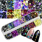 Nail Art Dazzling Round Nail Glitter Sequins Dust Mixed 12 Grids 1 2 3mm
