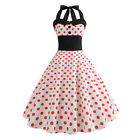 Retro Women Halter Evening Cocktail Prom Party Vintage Ball Gown Swing Dress