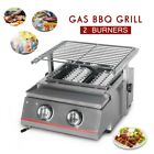 Household Gas BBQ Grill 2 Burners Glass Stainless Shield Picnic Camping Outdoor