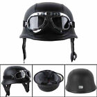motorcycle helmets goggles - US DOT Motorcycle German Style Leather Half Face Helmet with Pilot Goggles black