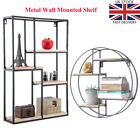 Industrial Style Wall Metal Wood Shelf Storage Cabinet Unit Rectangle Round UK