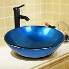 Bathroom Tempered Glass Vessel Sink Bowl Faucet Pop-up Drain Bath Basin Combo