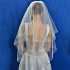 Extra Long Cathedral Applique Edge Lace Bridal Wedding Veil Short Veil With Comb <br/> UK Stock, Fast Delivery, Various Styles, White/Ivory