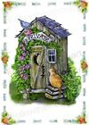 Outhouse ~ Private Tabby Kitty Cat & Bird Country Bathroom Wall Art Print