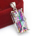 Pop 925 Silver Huge Mystic Rainbow Topaz Pendant Chain Chocker Necklace Party