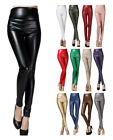 Women Faux Leather Synthetic Suede High Waist Skinny Leggings Club Party Pants