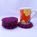 10cm Nepalese Handmade Wool Red & Blue Color Felt Ball Round Tea Coaster Trivets