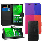 For Motorola Moto G6 - Premium Leather Wallet Flip Case Pouch Cover + Protector
