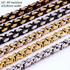 """16~40"""" 4/5/8mm Fashion Stainless Steel Men Womens Byzantine Box Chain Necklace"""