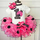First 1st Birthday Baby Girl Romper Tulle Tutu Skirts Dress Outfits Clothes Sets