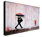 BANKSY Coloured Rain - CANVAS WALL ART Picture Framed Print - Various Sizes