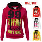 Doublju Womens Long Sleeve Words Patched Pullover Hooded Swe