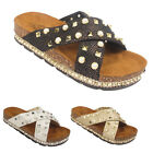 Ladies Flat Stud Wedge Womens Espadrille Mule Sandals Slip On Platform Shoe Size