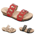 Ladies Flat Summer Sandals Summer Flatforms Wedge Heel Diamante Womens Shoe Size