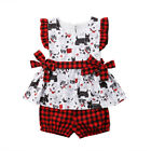 USA Toddler Newborn Baby Girls Puppy Dog Plaid Tops Shorts Outfits Set Clothes