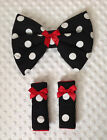 padded bow harness covers car seat black white dotty red cerise pink padded new