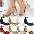 New Womens Ladies Silver Low Block Heel Wedding Sandals Bridal Prom Shoes Size