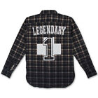 Pink Dolphin NO. 1 FLANNEL PLAID SHIRT IN NAVY, grey, beige, black Sz. M L
