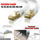 RJ45 CAT7 Ethernet Network 10 Gbps SSTP Patch Lead Thin Flat Cable 1M to 20M Lot