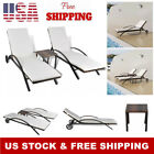Outdoor Sun Lounger Set Lounge Chair with Small Table Poly Rattan Wicker Garden