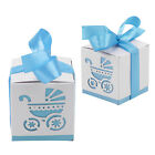 10Pcs Laser Cut Carriage Gift Candy Favour Boxes Baby Shower Boxes 5 Colours