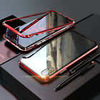 For iPhone X/8+Case Magneto Magnetic Adsorption Metal Cover Back Tempered Glass