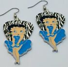 Betty Boop in Blue Charm Guitar Pick Earrings with Surgical Steel Earwires $7.0 USD on eBay